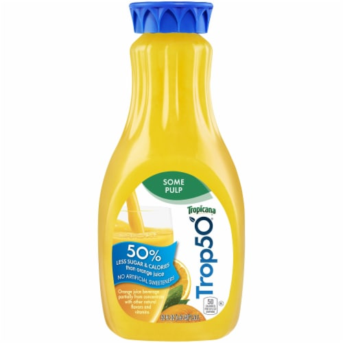 Tropicana Trop50 Orange Juice Some Pulp with Calcium + Vitamin D 52 oz Bottle Perspective: front