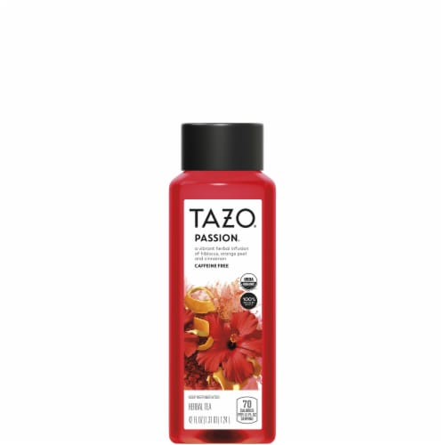 Tazo Iced Tea Hibiscus Passion Herbal Tea Bottle Perspective: front