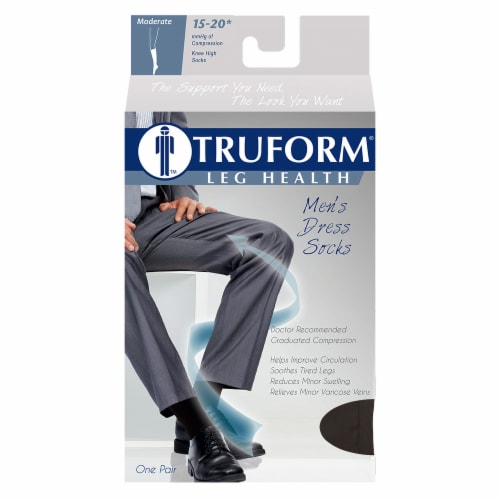 Truform Leg Health Men's Dress Socks - Extra Large - Black Perspective: front