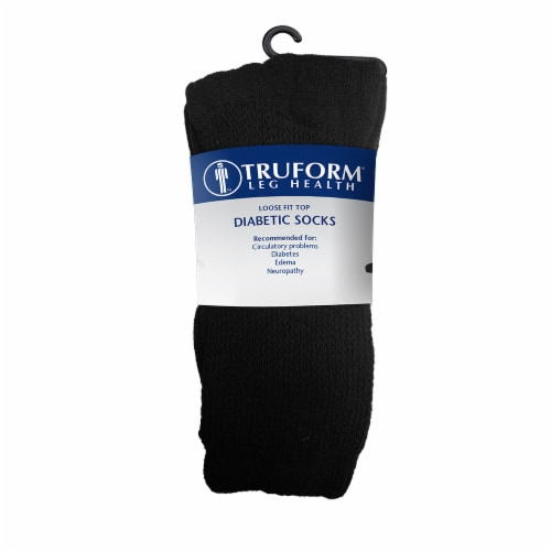 Truform Leg Health Loose Fit Top Diabetic Socks - 3 pk - Black Perspective: front