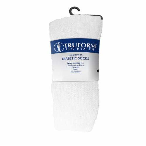 Truform Leg Health Loose Fit Top Diabetic Socks - 3 pk - White Perspective: front