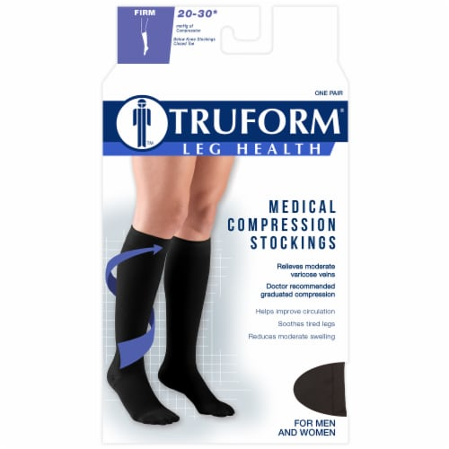Truform Leg Health Firm Medical Compression Stockings - Black Perspective: front