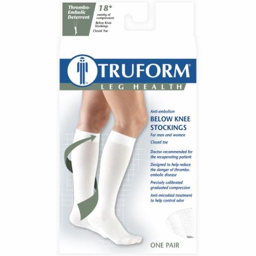 Truform Leg Health Thrombo-Embolic Deterrent Below Knee Stockings - White Perspective: front