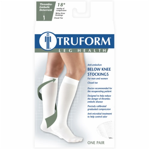 Truform Leg Health Thrombo-Embolic Deterrent Below Knee Stockings - White Perspective: front
