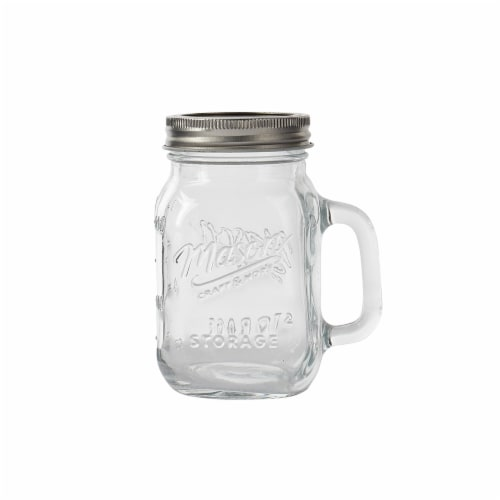 Tabletops Unlimited Mason Glass Drinking Jar with Lid and Handle - Clear Perspective: front