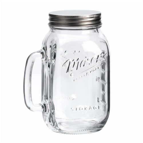 Mason Craft & More Glass Jar with Handle and Lid - Clear Perspective: front