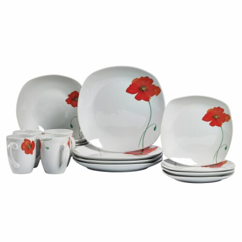 Tabletops Unlimited Square Dinnerware Set - Poppy Perspective: front