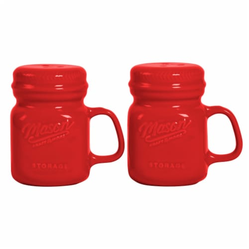 Mason Craft & More Ceramic Salt and Pepper Shakers - Red Perspective: front