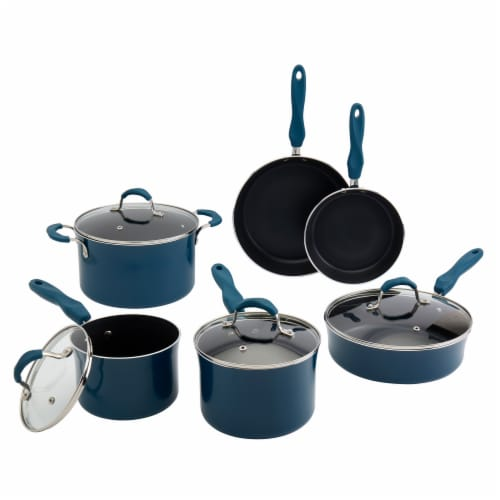 Tabletops Unlimited Aluminum Cookware Set - Blue Perspective: front