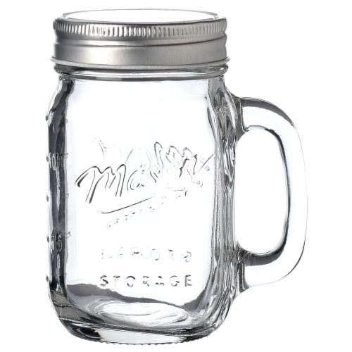 Mason Craft & More Mason Jar with Handle & Lid  - Clear Perspective: front