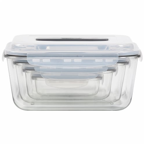 Mason Craft & More Rectangular Glass Food Container Set Perspective: front