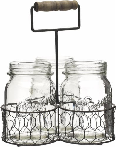 Mason Craft & More Chicken Wire Caddy and Glass Jars - Gray/Clear Perspective: front