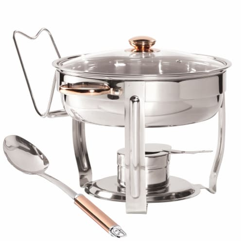 Denmark Celebrations 4-Quart Stainless Steel Chafing Dish with Gold Accents Perspective: front