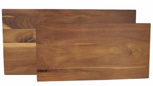 Tabletops Unlimited Acacia Wood Footed Plank with Legs Perspective: front