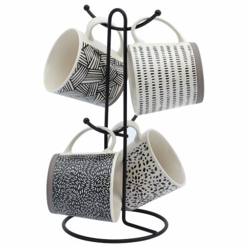 Tabletops Unlimited Metal Wire Rack and Mug Set - Black/White Perspective: front