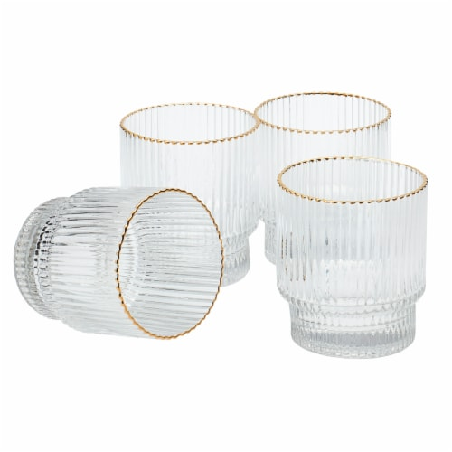 Tabletops Unlimited Low Ball Drinkware Set - Gold/Clear Perspective: front