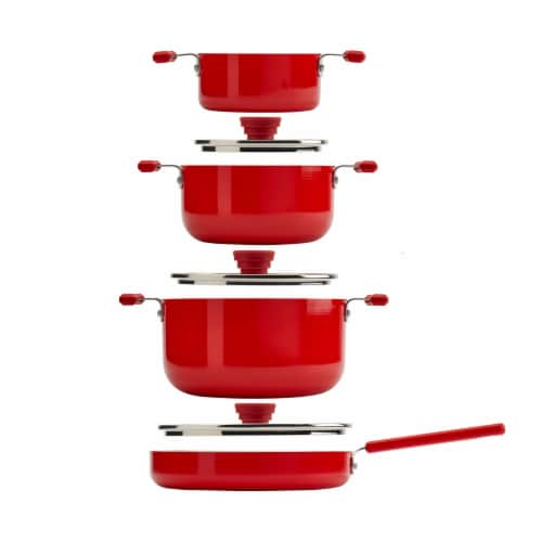 Tabletops Unlimited Stax Aluminum Cookware Set - Red Perspective: front