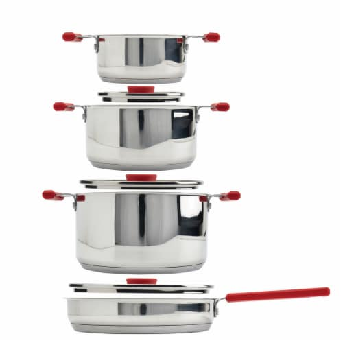 Denmark Tools For Cooks® Stax Stainless Steel Cookware Set - Red Perspective: front