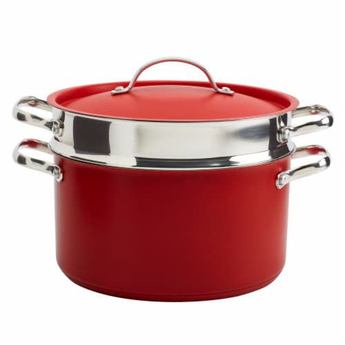 Tabletops Unlimited Stainless Steel Pasta Cooker - Red Perspective: front