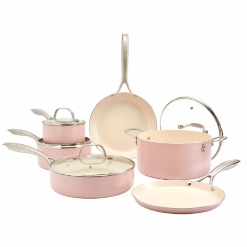 Tabletops Unlimited Aluminum Cookware Set - Blush Perspective: front