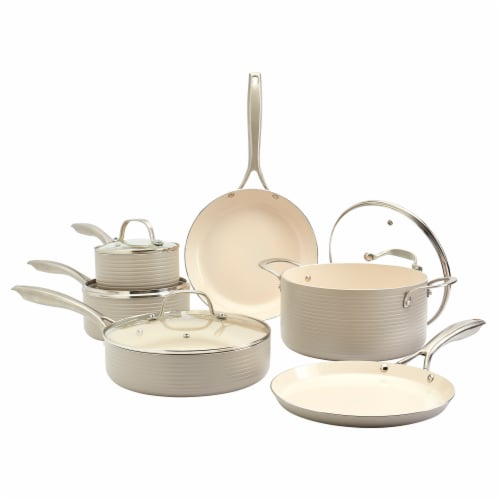 Tabletops Unlimited Aluminum Cookware Set - Fog Perspective: front