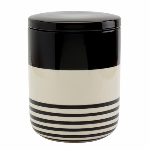 Tabletops Unlimited Large Striped Canister - Black/White Perspective: front