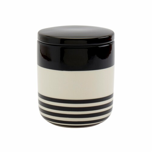 Tabletops Unlimited Small Striped Canister - Black/White Perspective: front