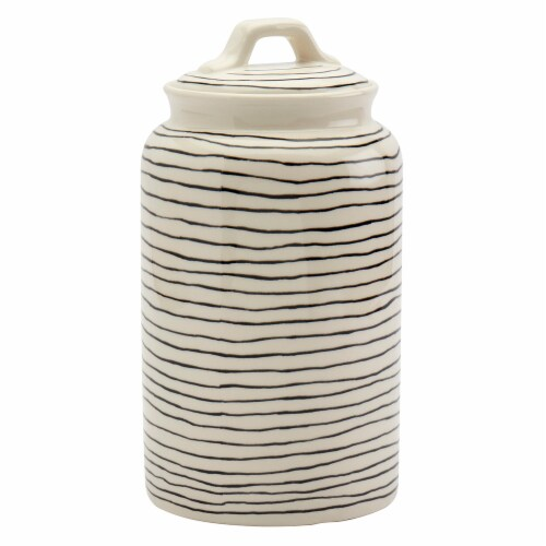 Tabletops Unlimited Large Madison Striped Canister - Black/White Perspective: front
