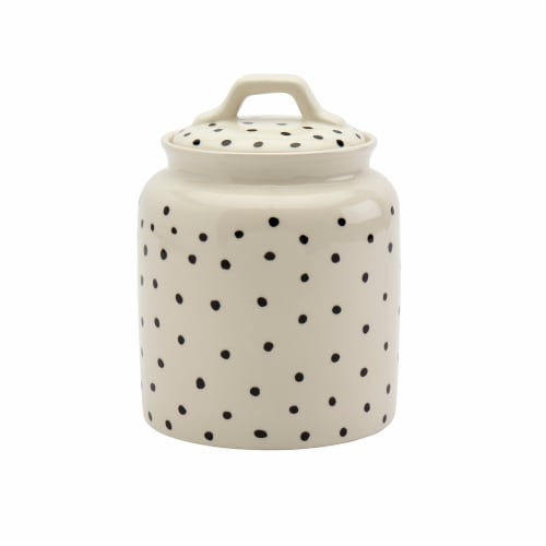 Tabletops Unlimited Small Madison Dots Canister - Black/White Perspective: front