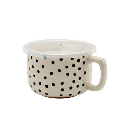Tabletops Unlimited Madison Dots Soup Bowl & Lid - Black/White Perspective: front