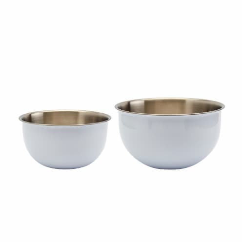 Tabletops Gallery Stainless Steel Mixing Bowl Set - White Perspective: front