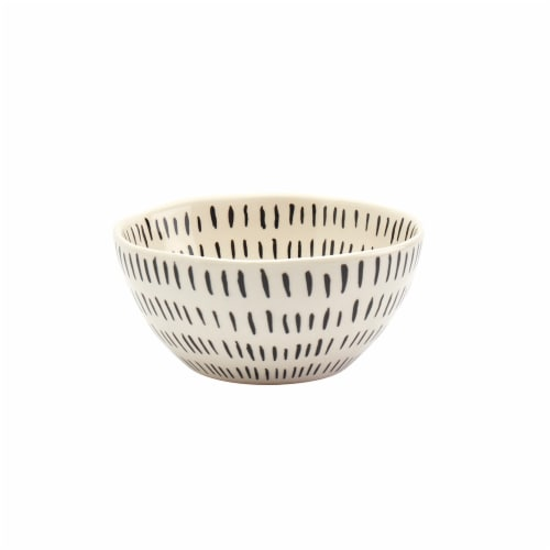 Tabletops Gallery Madison Dash Cereal Bowl - Black/White Perspective: front