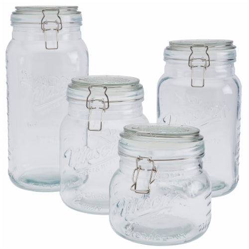 Tabletops Unlimted Mason Clamp Jar Boxed Set Perspective: front