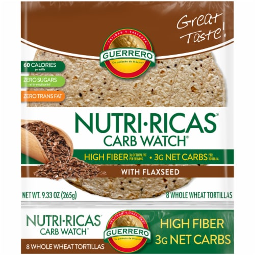 Guerrero Nutri-Ricas Carb Watch Whole Wheat Tortillas Perspective: front