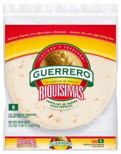 Guerrero Riquisimas Burrito Grande Flour Tortillas 8 Count Perspective: front