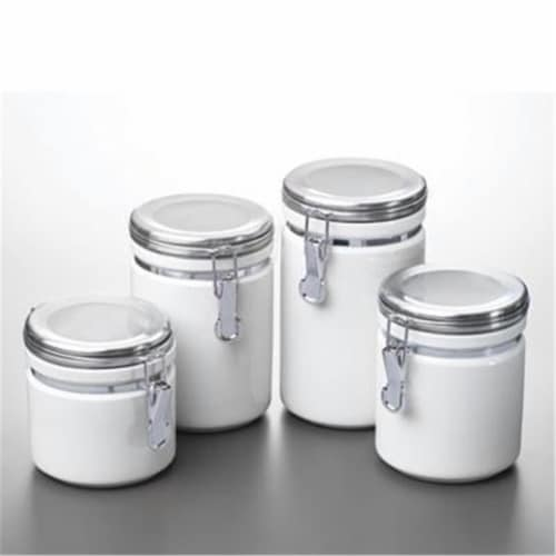 Anchor Hocking 03922MR 4pc White Ceramic Canister Set Perspective: front