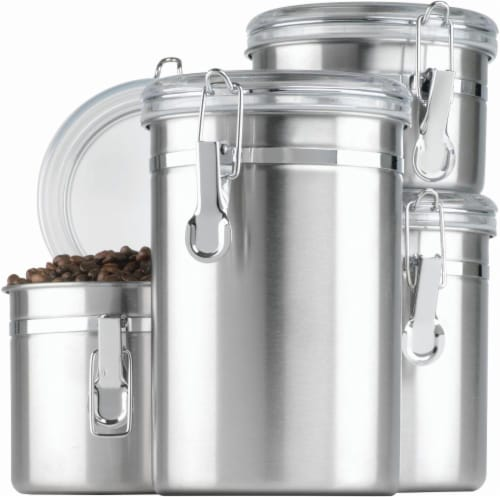 Anchor Hocking Stainless Steel Canisters with Acrylic Clamp-Top Lids - 4 Piece - Silver Perspective: front