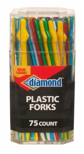 Diamond Plastic Forks 75 Count Perspective: front