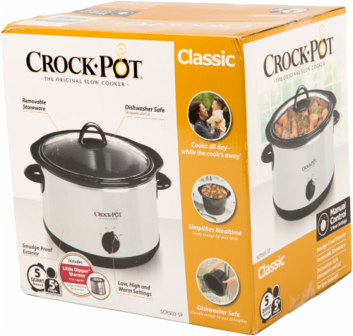 Crock-Pot Classic Stainless Steel Slow Cooker - Silver/Black Perspective: front