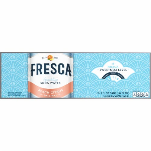 Fresca Peach Citrus Sparkling Soda Water Fridge Pack Perspective: front