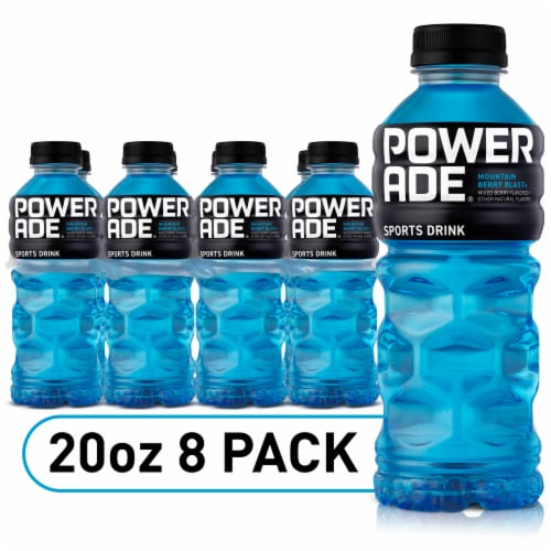 Powerade Mountain Berry Blast Electrolyte Enhanced Sports Drink 8 Bottles Perspective: front