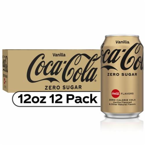 Coca-Cola Vanilla Zero Sugar Soda Perspective: front