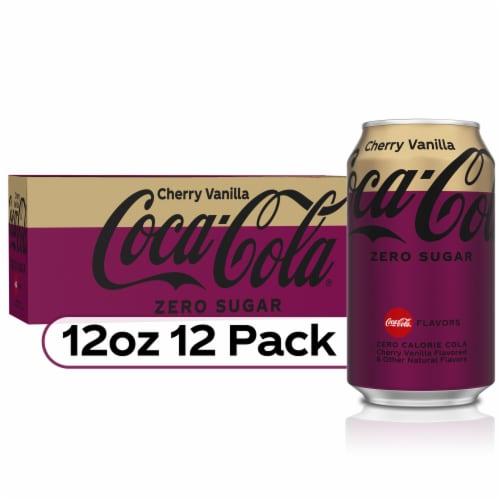 Coca-Cola Cherry Vanilla Zero Sugar Cola Soda Perspective: front