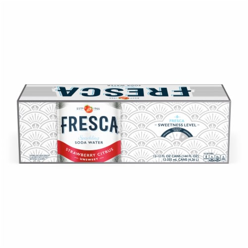 Fresca Strawberry Citrus Sparkling Soda Water Perspective: front