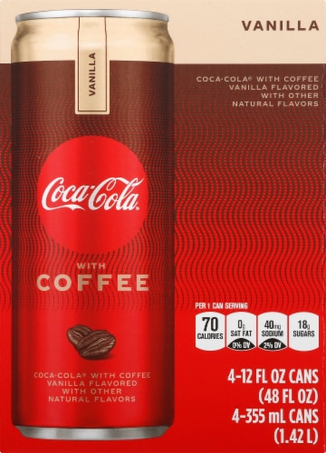 Coca-Cola with Coffee Vanilla Cans, 12 fl oz, 4 Pack Perspective: front