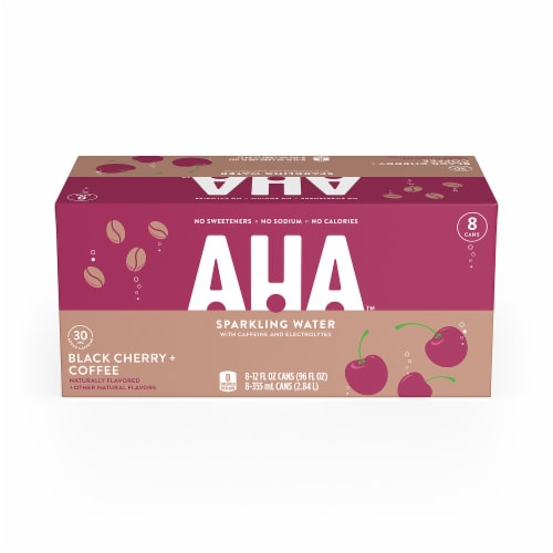 AHA Black Cherry + Coffee Sparkling Water Perspective: front