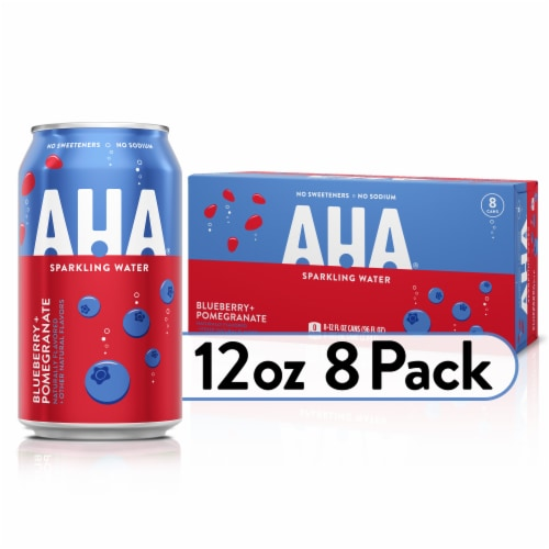 AHA Blueberry & Pomegranate Sparkling Water Perspective: front