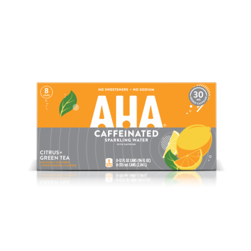 AHA Citrus + Green Tea Caffeine Sparkling Water Perspective: front