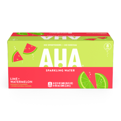 AHA Lime + Watermelon Sparkling Water Perspective: front