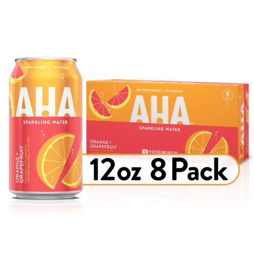AHA Orange + Grapefruit Sparkling Water 8 Count Perspective: front